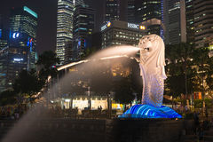 Merlion喷泉是新加坡的标志 库存图片