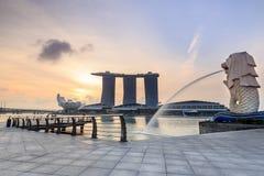 Merlion是一个虚构的生物作为新加坡的标志 免版税库存照片