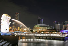 Merlion雕象喷泉在Merlion公园和新加坡城市地平线在晚上 库存照片