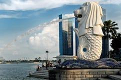 Merlion雕象在新加坡 免版税库存图片