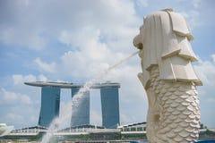 Merlion雕象,新加坡 免版税库存图片