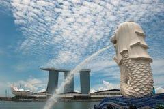 Merlion雕象,海滨广场海湾铺沙旅馆,新加坡 库存照片