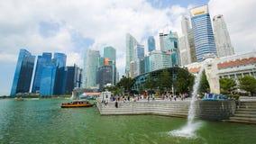 Merlion alla baia del porticciolo, Singapore Fotografie Stock