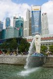 Merlion alla baia del porticciolo, Singapore Fotografia Stock Libera da Diritti