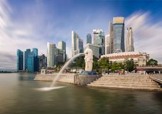 Merlion and building ,Singapore 17/10/2016. Try to find reflect for make it interesting stock photography