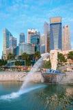 Merlion fontanna jest symbolem Singapur Zdjęcie Stock