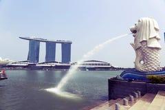 Merlion fontanna w Singapur Obraz Royalty Free
