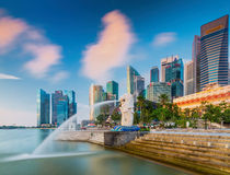 The Merlion fountain in front of the Marina Bay Sands hotel Royalty Free Stock Photo