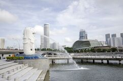 Merlion fountain in front of the Marina Bay Sands hotel in Singapore