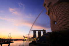 Merlion fountain in front of the Marina Bay Royalty Free Stock Images