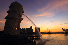 Merlion fountain in front of the Marina Bay Royalty Free Stock Image