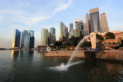 Merlion fountain in front of the Marina Bay Royalty Free Stock Photography