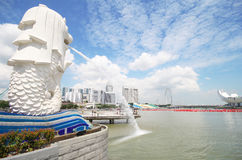 The Merlion fountain, Landmark of Singapore Royalty Free Stock Photography