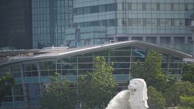 Merlion Fountain landmark in Singapore city, slow motion.  stock video footage