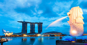 Merlion. The Merlion fountain lit up at night in Singapore Stock Photo