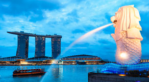 Merlion. The Merlion fountain lit up at night in Singapore Royalty Free Stock Image