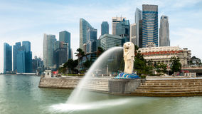 Merlion. The merlion fountain and marina bay on morning Stock Images