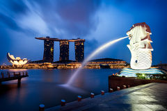 Merlion. Fountain and marina bay in the morning, Singapore Royalty Free Stock Image