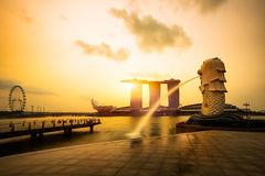 Merlion fountain and marina bay in the morning Royalty Free Stock Image