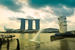 Merlion fountain and marina bay in the morning Royalty Free Stock Images