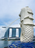 Merlion fountain and Marina Bay Sands Resort Stock Photos