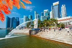 The Merlion Fountain and Marina Bay Sands, Singapore. royalty free stock images