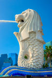 The Merlion  fountain and Marina Bay Sands, Singapore. Stock Images