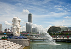 Merlion fountain in Sigapore Royalty Free Stock Photos