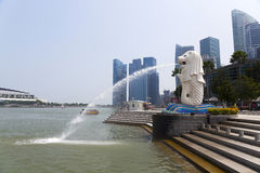 Merlion fountain in Singapore Royalty Free Stock Photos