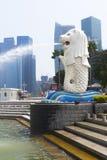 Merlion fountain in Singapore Royalty Free Stock Photo