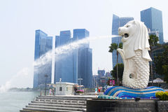 Merlion fountain in Singapore Stock Photography
