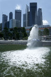 Merlion fountain singapore city waterfront Stock Photography