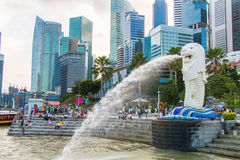The Merlion fountain in Singapore. Merlion is a imaginary creature with the head of a lion,seen as a symbol of Singapore Stock Photography