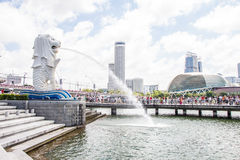 The Merlion fountain in Singapore Royalty Free Stock Image