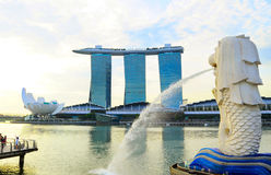 Merlion fountain Stock Image