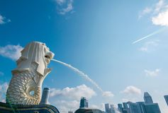 The Merlion fountain in Singapore. stock image