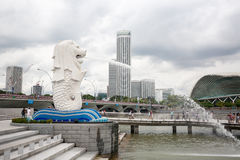 Merlion fountain in Singapore Stock Photos