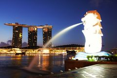 Merlion fountain statue Royalty Free Stock Photo