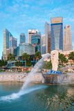 Merlion fountain  is a symbol of Singapore Stock Photo