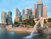 Merlion fountain  is a symbol of Singapore Stock Photos