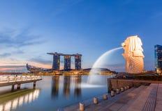 Merlion ist eine berühmte Anziehungskraft von Singapur lizenzfreie stockbilder