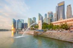 Merlion am Jachthafen-Schacht, Singapur Stockfoto