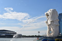 The Merlion, landmark of Singapore. Singapore city, Singapore - September 23, 2016: The Merlion, landmark of Singapore in the morning royalty free stock images
