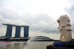 A Merlion and the Marina Bay Sands, Singapore Royalty Free Stock Photo