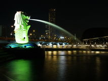 Merlion at Marina Bay Singapore. Night scene at Merlion, Marina Bay Singapore Stock Image