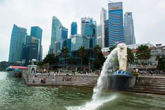 Merlion, a mascot and national personification of Singapore Stock Photo