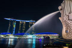 Merlion, a mascot and national personification of Singapore Stock Photos