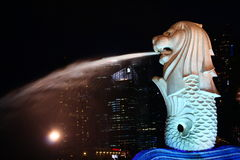 Merlion na noite escura Fotos de Stock Royalty Free