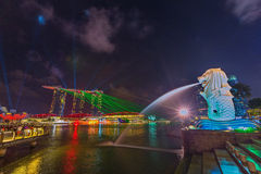 The Merlion at night Royalty Free Stock Photography