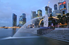 Merlion Park. The Merlion Park overlooking the Singapore Central Business District and the Marina Bay Royalty Free Stock Image
